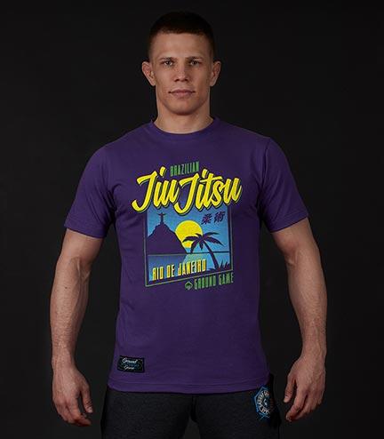 """Pánské tričko Ground Game """"BJJ Sunset"""" fialový"""