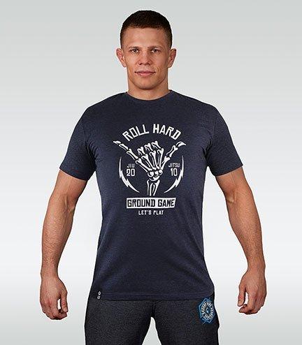 "Pánské tričko Ground Game ""Roll Hard"" Tmavě modré Melange"
