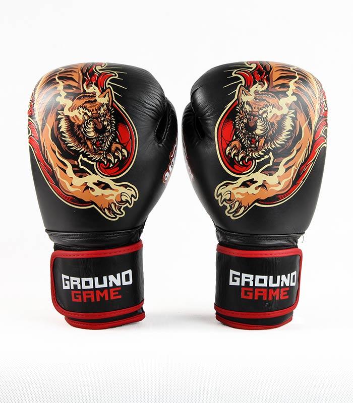 """Boxerské rukavice PRO Ground Game """"Red Tiger"""" 14 oz"""