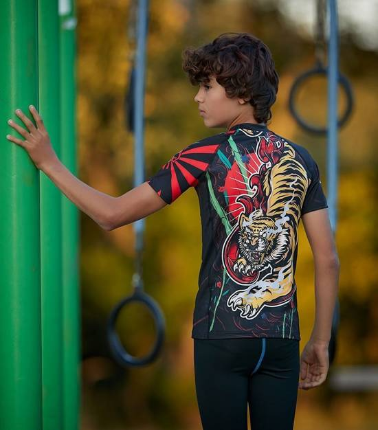"Rashguard ""Red Tiger Kids"" short sleeve"