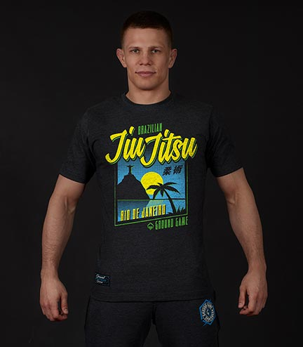 "T-shirt ""BJJ Sunset"" Grafitowy"