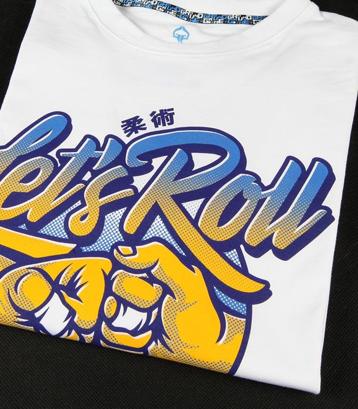 "T-shirt ""Let`s Roll"" Biały"